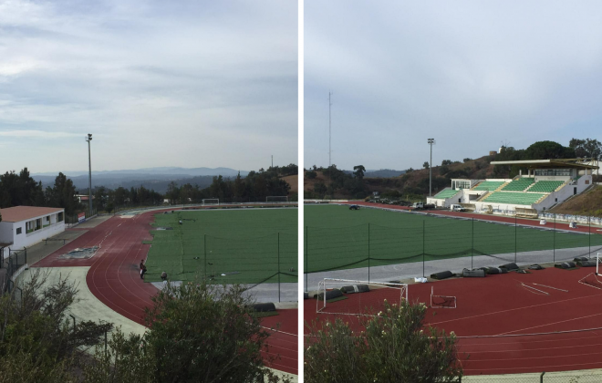 Está quase concluída a colocação do novo relvado sintético do Estádio Municipal de Odemira