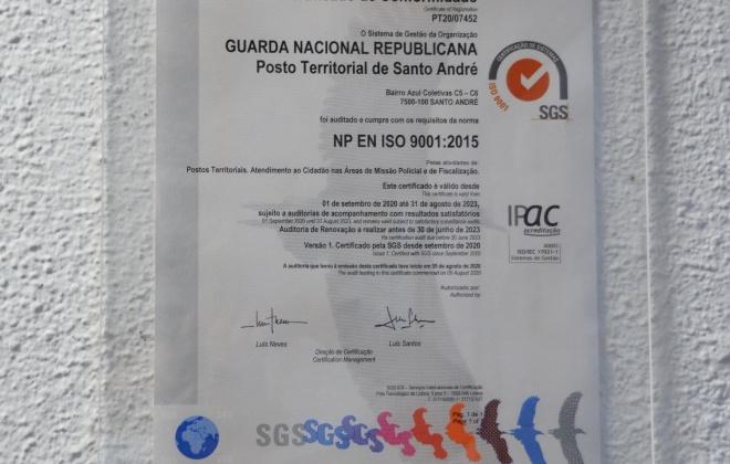 Câmara de Santiago do Cacém considera positiva a certificação atribuída à GNR de Santo André